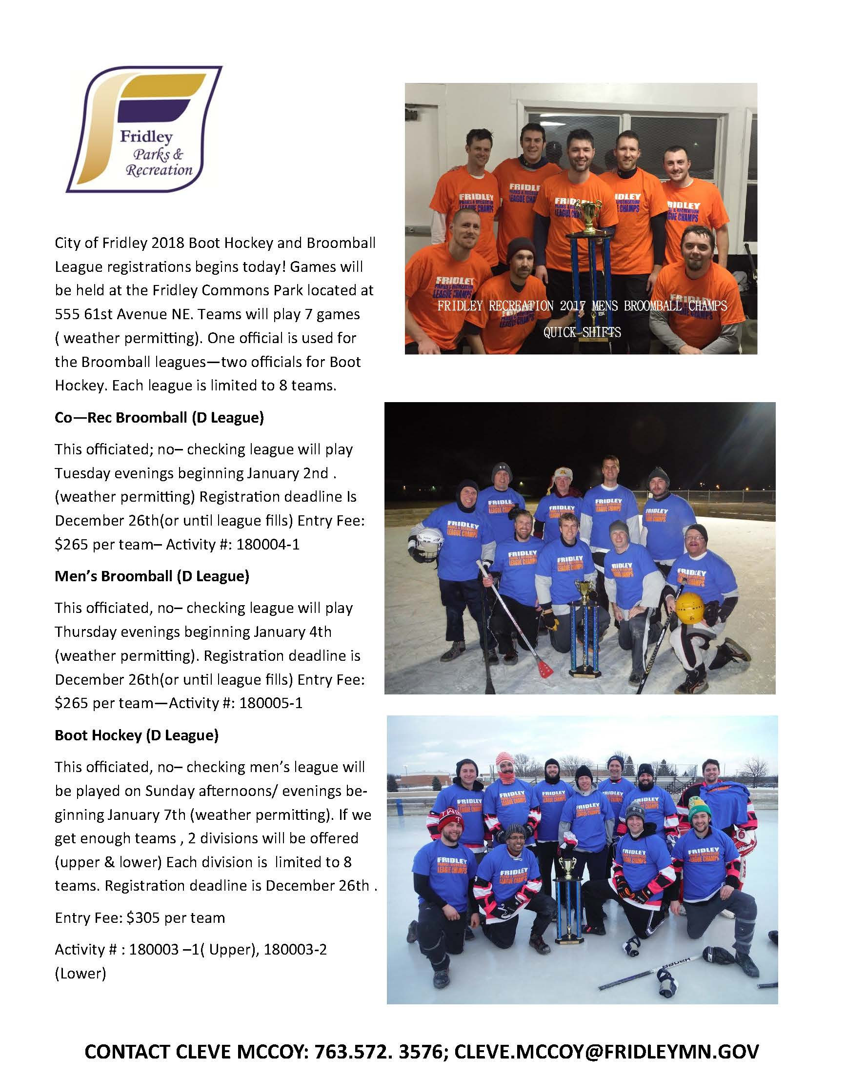 2018 Boot Hockey Broomball Flyer