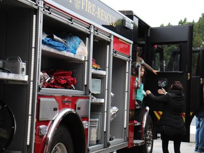 Kids checking out the fire trucks at the Fridley Fire Open House