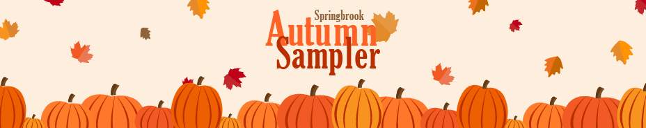 Autumn Sampler banner with event title, pumpkins and leaves