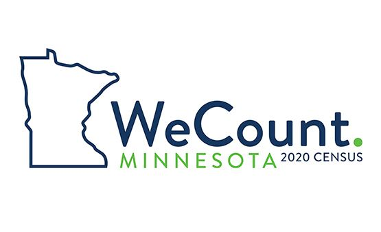 Census logo - Minnesota outline with We Count slogan