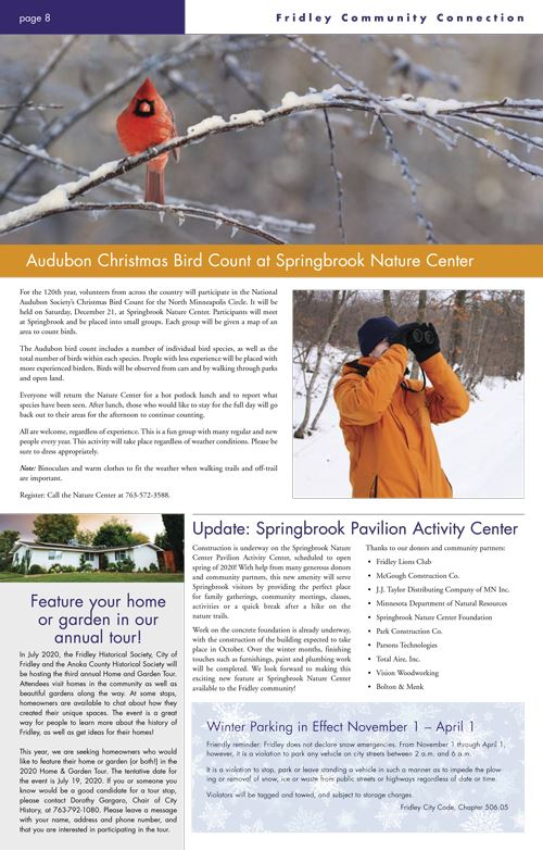 Back cover of newsletter with Audubon Bird count article