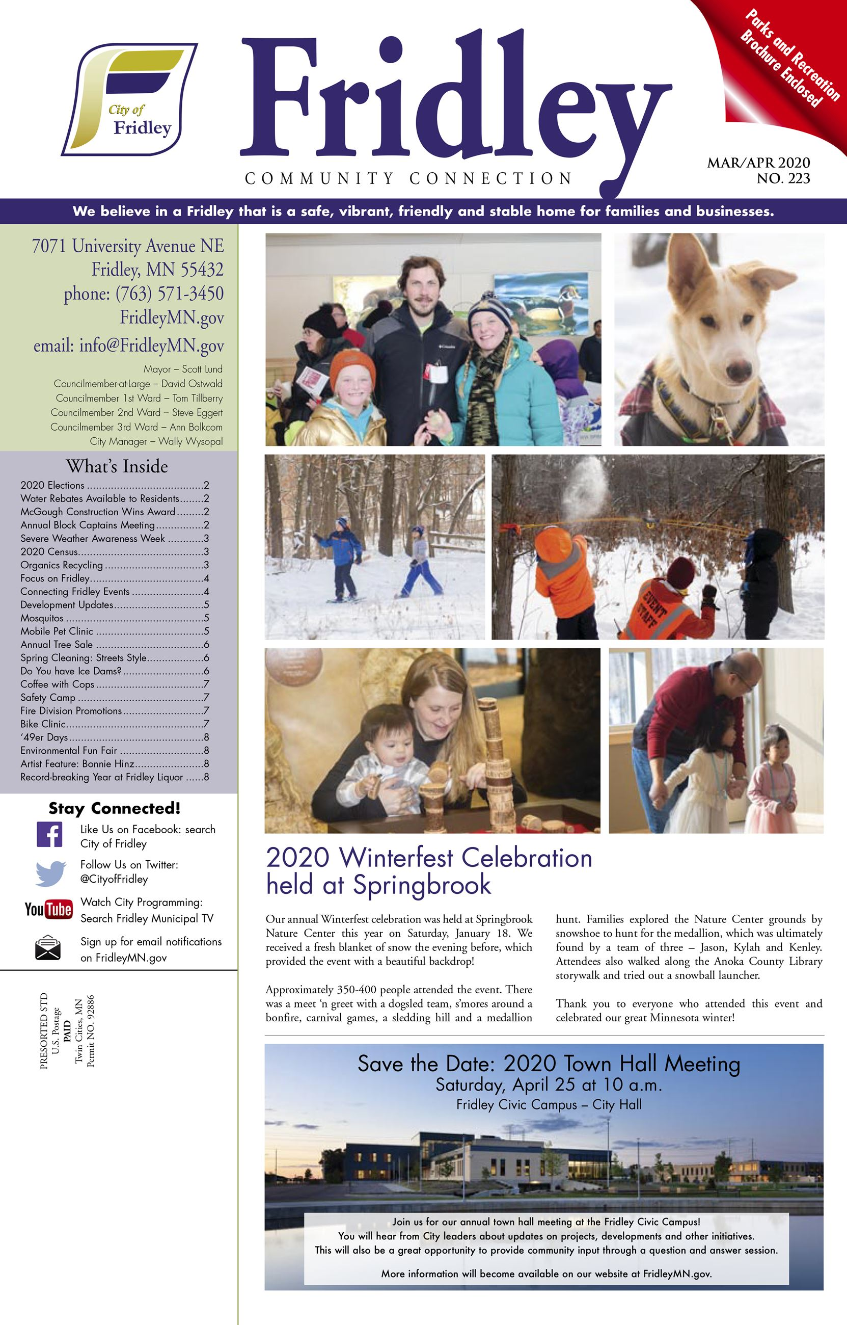 Cover of March April newsletter